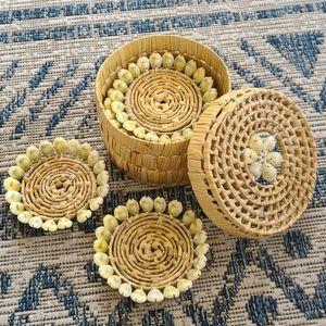 Vintage rattan seashell coaster set
